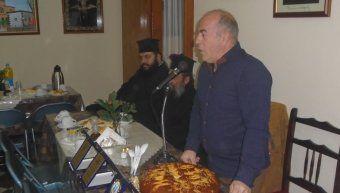 Ο Πρόεδρος του Ηρακλή Στρατής Γιάννακας κατά την κοπή πίτας του Συλλόγου