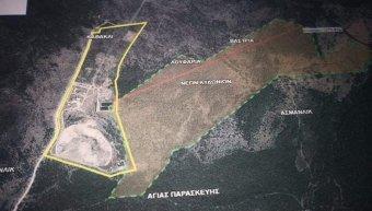 Η προτεινόμενη από Κύτελη – Αθανασίου έκταση «μαμούθ» στο χάρτη που αποκάλυψε το «Ν» στις 22 του περασμένου Οκτωβρίου. Οριοθετείται με πράσινη διακεκομμένη γραμμή.