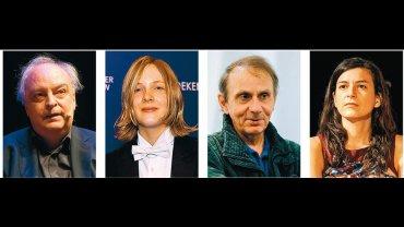 Από αριστερά: Ενρίκε Βίλα-Μάτας, Μαριέκε Ρίνεβελντ, Μισέλ Ουελμπέκ και Σαμάντα Σβέμπλιν είναι μερικοί από τους συγγραφείς που συμπληρώνουν τη μακρά λίστα των 13 υποψηφίων για το διεθνές βραβείο Μπούκερ. Ο νικητής θα ανακοινωθεί στις 19 Μαΐου.