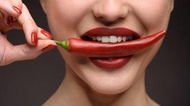 γυναίκα στόμα πιπεριά κόκκινα χείλη