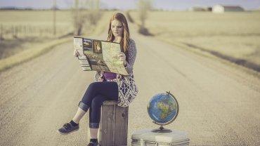 γυναίκα, ταξίδι, χάρτης, βαλίτσα, δρόμος