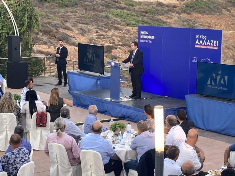 Γαλάζιο προεκλογικό χρώμα… στην ομιλία Μηταράκη στο ξενοδοχείο Ερύθα