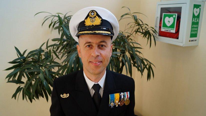 Ο Διοικητής της Ακαδημίας Πλοιάρχων Οινουσσών Παντελής Βατούσης. Η Σχολή είχε την πλέον άψογη παρουσία