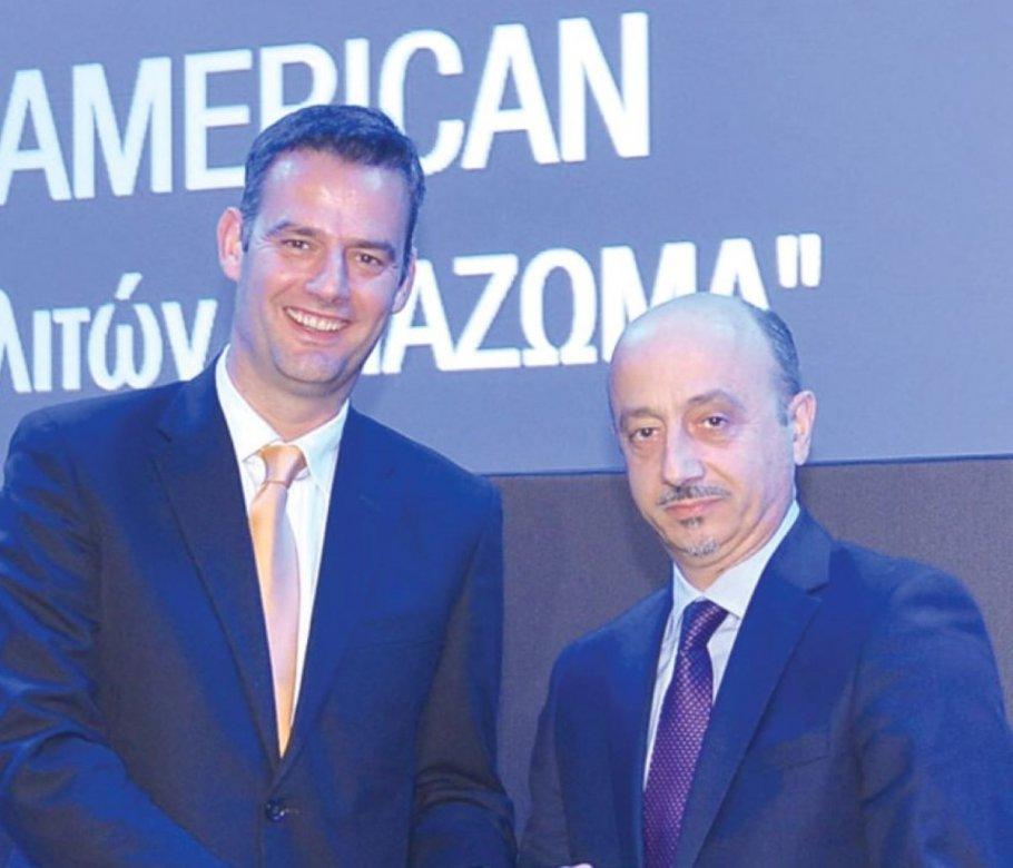 Ο Μιχάλης Σπανός, διευθύνων σύμβουλος του Global Sustain Group, με τον Γιάννη Ρούντο, διευθυντή εταιρικών σχέσεων και υπευθυνότητας ομίλου INTERAMERICAN.