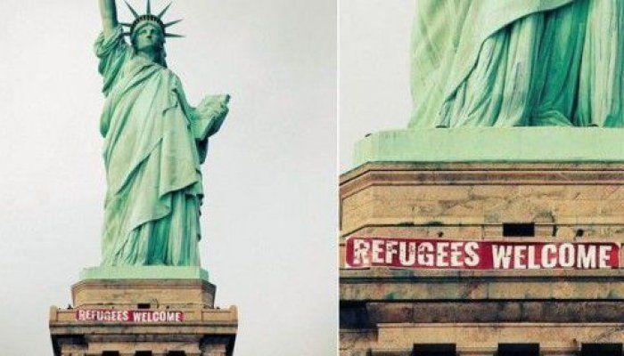 Ακτιβιστές τοποθέτησαν στο εμβληματικό τοπόσημο της Νέας Υόρκης πανό που έγραφε «Refugees Welcome»