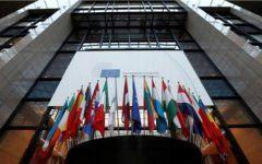 Η είσοδος του κτιρίου όπου συνεδριάζει το Ευρωπαϊκό Συμβούλιο