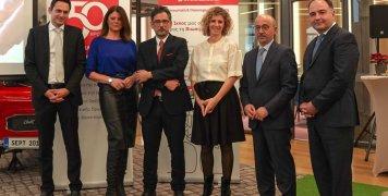 : Από την εκδήλωση: Σπύρος Μορισαίος (EY), Χριστίνα Βίδου, συντονίστρια της παρουσίασης, Γιάννης Καντώρος, διευθύνων σύμβουλος INTERAMERICAN, Χρύσα Ελευθερίου, προϊσταμένη και Γιάννης Ρούντος, διευθυντής εταιρικών σχέσεων και υπευθυνότητας INTERAMERICAN,