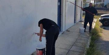 Αποκαταστάθηκαν οι τοίχοι του Ιωνικού που είχαν βαφτεί με υβριστικά συνθήματα