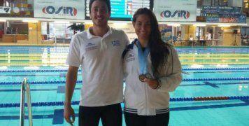 Ο χιώτης πρωταθλητής Γιάννης Πιπινιάς έχασε στις λεπτομέρειες το μετάλλιο στην Πανεπιστημιάδα Τεχνικής Κολύμβησης. Στο φωτογραφικό στιγμιότυπο με την Ειρήνη Δεληγιάννη, η οποία κατέκτησε ένα ασημένιο και ένα χάλκινο μετάλλιο στη διοργάνωση.