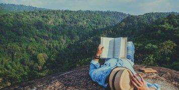 άνδρας, βιβλίο, διακοπές, τοπίο
