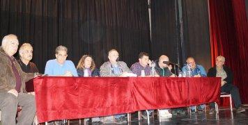 Το προεδρείο στη Λαϊκή Συνέλευση του Βροντάδου, που έγινε στην ΠΕΚΕΒ