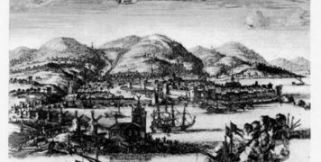 Η πόλη της Χίου από χαλκογραφία στο βιβλίο του D.O. Dapper, Description Exacte des Isles de L' Archipel…1703. (Από: Φ. Αργέντης - Στ. Κυριακίδης, Ἡ Χίος παρὰ τοῖς γεωγράφοις καὶ περιηγηταῖς.)